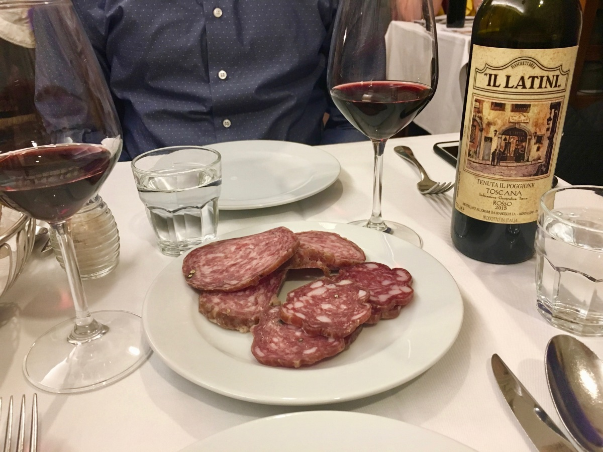 """Our """"three meat"""" selection at dinner at il Latini in Florence, Italy"""