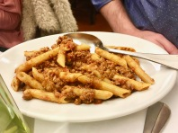 Pasta with meat sauce at il Latini in Florence, Italy