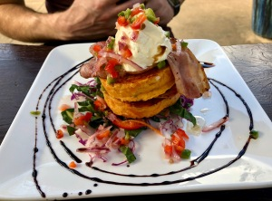 Sweet potato cakes from Hot Waves Cafe in Hahei, New Zealand