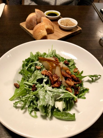 Pear salad, bread & dukkah from Huhu Cafe in Waitomo, New Zealand