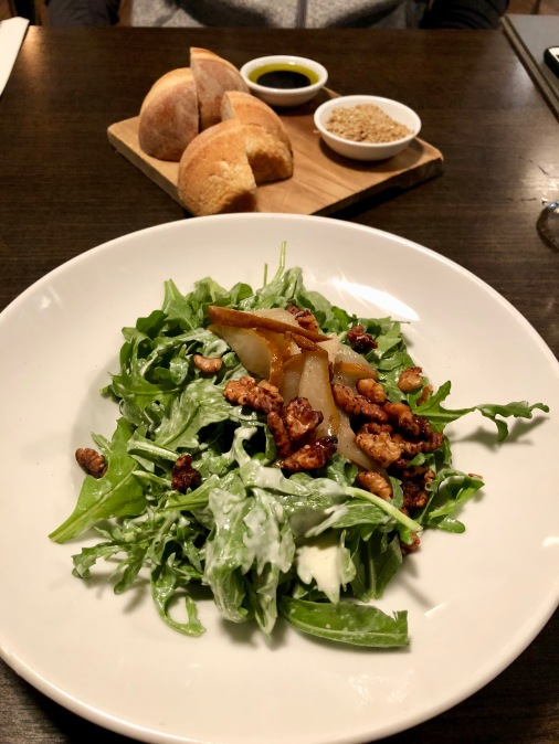Pear salad, bread & dukkah from Huhu Cafe in Waitomo, New Zealand