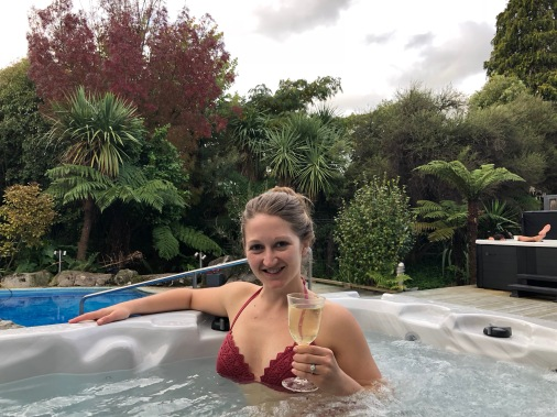Wine in the spa at our hotel in New Zealand