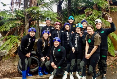 Our glow worm cave group for the Black Labyrinth Tour in Waitomo, New Zealand