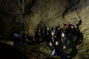 Deep in the glow worm caves during the Black Labyrinth Tour in Waitomo, New Zealand