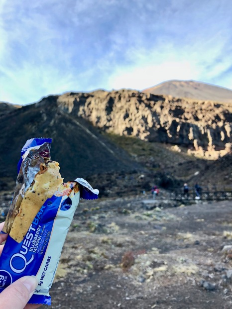 Snack time on the Tongariro Hike in New Zealand