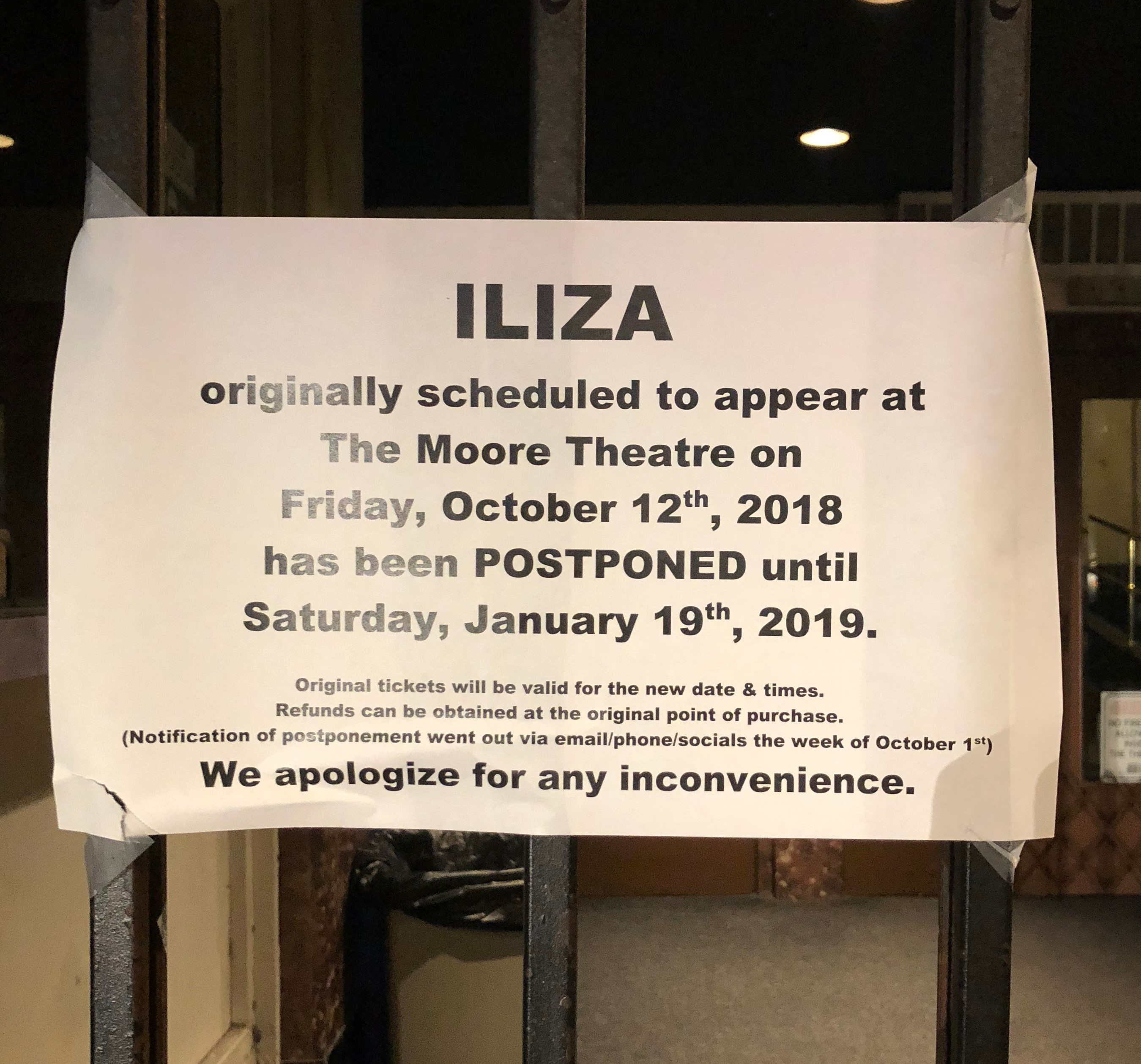 The sign for our canceled show - bummer!