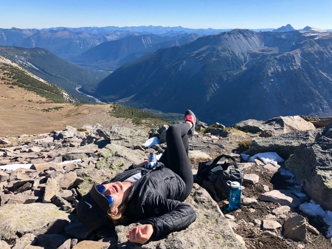 Resting on our hike up Mt. Rainier