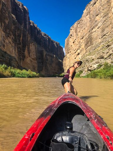 Pulling our kayak through Big Bend National Park, Texas