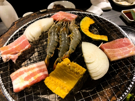 Yakiniku style dinner in Osaka, Japan