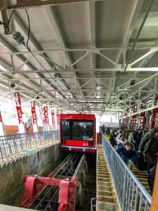 Taking the rail car up to Mt. Koya
