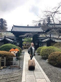 Checking in to stay at the Koyasan Onsen Fuchin in Mt. Koya, Japan