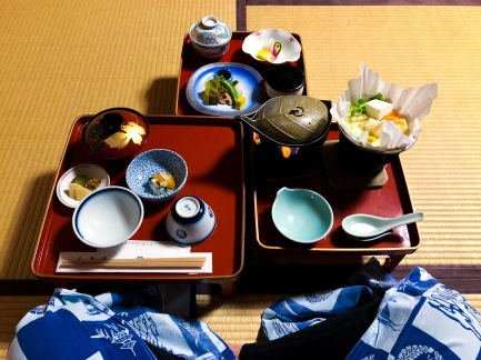 Our monk style dinner at Koyasan Onsen Fuchin