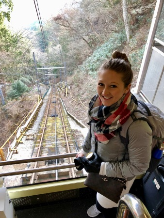 Taking the rail car up to Mt. Koya