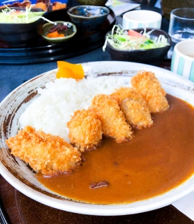 Fried oysters and Japanese curry on Miyajima Island, Japan